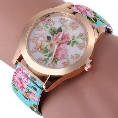 Women Quartz Watch Peony Pattern Round Dial Steel Elastic Strap