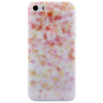 Protective Back Cover Case with Maple Design Transparent Frame for iPhone SE / 5 / 5S