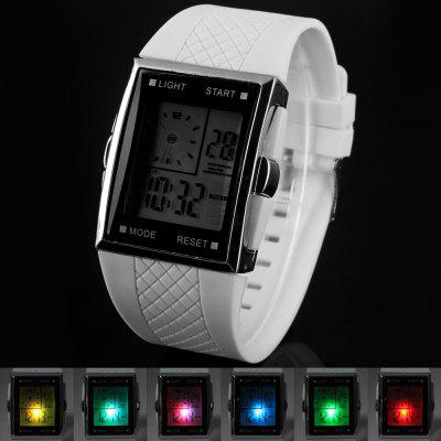 Dual Time LED Watch with Day Date Alarm Chronograph Function Rubber Strap