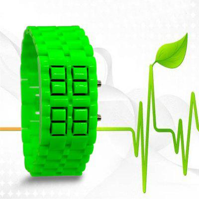 LED Sports Bracelet Watch with Candy Color Rubber Lava Band