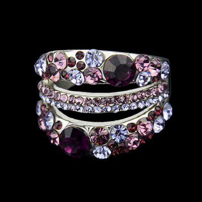 Colored Rhinestone Hollow Out Ring