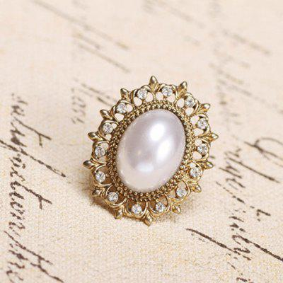 Stylish Chic Women's Faux Pearl Rhinestone Hem Ellipse Ring