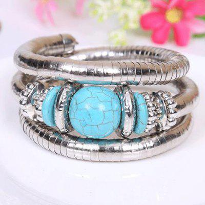 Retro Style Kallaite Embellished Multi-Layer Coiler Bracelet