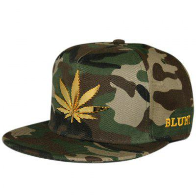 Stylish Camouflage Brim Metal Hemp Leaf Embellished Letter Embroidery Baseball Cap For Men