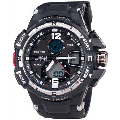 SanDa 289 Military Dual - movt Watch Water Resistant Muliti - function LED Watches for Outdoor Sports
