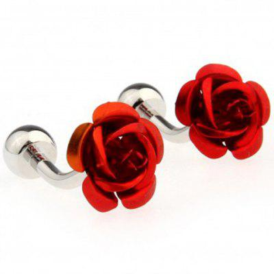 Pair of Chic Rose Design Cufflinks For Men