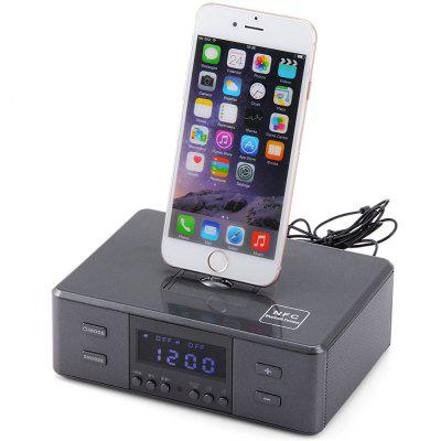 D9 Portable Remote Control Wireless Bluetooth Alarm Clock Micro USB 8 Pin and 30 Pin Interface Music Speaker System with FM Radio Function