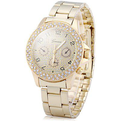 Geneva Diamond Female Quartz Watch Decorative Sub - dials Stainless Steel Band