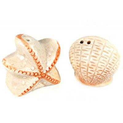2pcs / Kit Starfish and Shell Pattern Ceramics Seasoning Bottle Condiment Cruet for Kitchen Tools