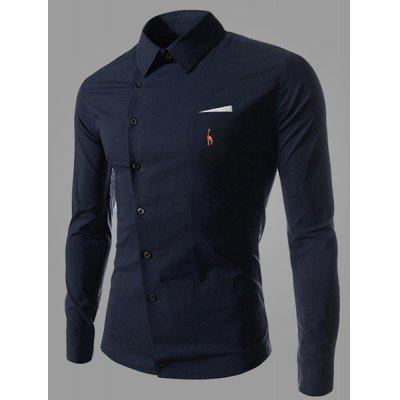 Embroidery Men\'s Navy Shirt