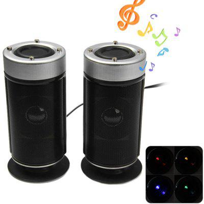 Practical Cylinder Shape USB 2.0 Multimedia Speaker with Plastic Material Low Pitch Effect