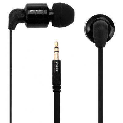 Awei ES600M 1.2m Flat Cable Design Super Bass In - ear Earphone for Smartphone Tablet PC