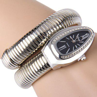 Snake Pattern Female Quartz Bracelet Watch Stainless Steel Watchband