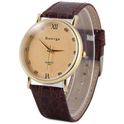 Rosivga 808 Men Quartz Watch Diamond Dots Leather Strap Round Dial