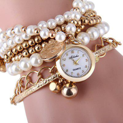 Ailisha Female Quartz Pendants Multilayer Chain Watch with Beads Round Dial