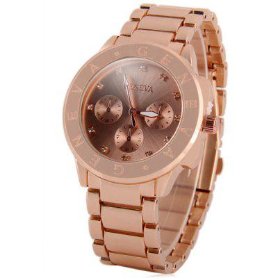 Geneva Ladies Diamond Quartz Watch Letters Scale Stainless Steel Body Decorative Sub - dials