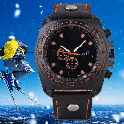 S - 1032 Decorative Sub - dial Sports Watch with Large Dial Bright Color Leather Band