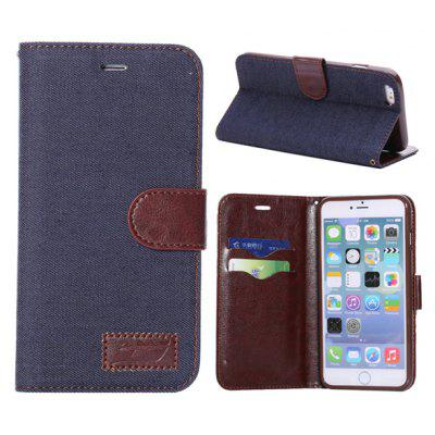 PU + TPU Cover Jean Cloth Design Case Skin with Card Holder Stand Function for 5.5 inch iPhone 6 Plus
