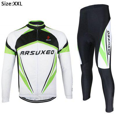 Buy WHITE 2XL Arsuxeo ZLS06V Men Cycling Suit Jersey Jacket Pants Kit Long Sleeve Bike Bicycle Outdoor Running Clothes for $24.92 in GearBest store