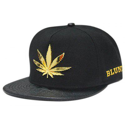 Stylish Metal Hemp Leaf Embellished Letter Embroidery Baseball Cap For Men