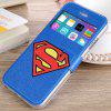 cheap Fashionable Blue Super Man Shield Pattern PU and TPU Case Cover for iPhone 6  -  4.7 inches