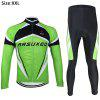 Arsuxeo ZLS06V Men Cycling Suit Jersey Jacket Pants Kit Long Sleeve Bike Bicycle Outdoor Running Clothes - GREEN