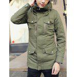 Buy Stylish Stand Collar Slimming Multi-Pocket Zipper Embellished Long Sleeve Thicken Cotton Blend Trench Coat Men M ARMY GREEN