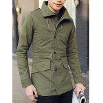 Buy Stylish Turndown Collar Slimming Large Pocket Zipper Design Long Sleeve Thicken Cotton Blend Trench Coat Men M ARMY GREEN