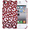 Hollow - out Style Protective Back Cover Case with Plastic Material for iPhone 4 / 4S - RED