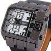 Oulm 3364 Quartz Watch with Leather Band Square Dial for Men - BROWN