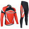 Arsuxeo ZLS06V Men Cycling Suit Jersey Jacket Pants Kit Long Sleeve Bike Bicycle Outdoor Running Clothes - RED