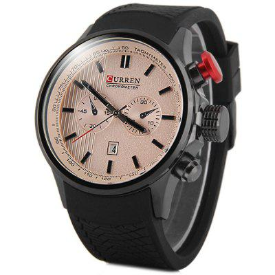 Curren 8175 Men Quartz Watch Rubber Band with Date Non - functioning Sub - dials