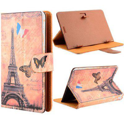 Universal Magnetic Flip Stand Eiffel Tower Pattern Leather Case for 7 inch Tablet PC