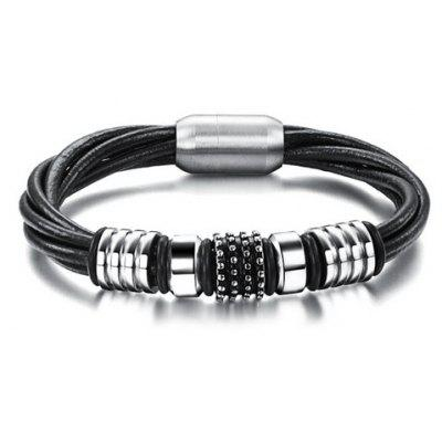 Chic Magnetic Buckle Layered Faux Leather Chain Bracelet For Men