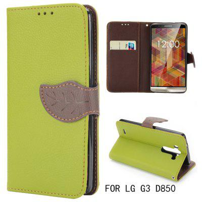 Leaf Magnetic Buckle Lichee Pattern Leather Case for LG G3 D850