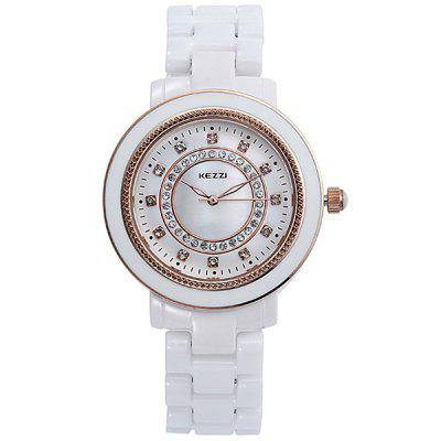 Kezzi Shiny Diamond Wristwatch Ladies Analog Quartz Watch Ceramic Strap