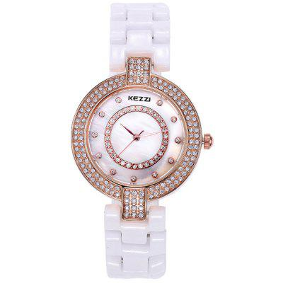 Kezzi Diamond Bezel Ladies Quartz Watch Round Dial Ceramic Strap