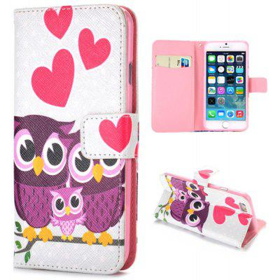 Cute Owl Style Full Body Case with Credit Card Holder Stand Function for iPHone 6  -  4.7 inches