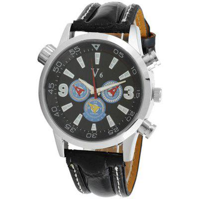 V6 Fashion Round Dial Male Quartz Watch Leather Band for Men