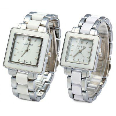 Buy WHITE Bariho T131 Ceramic + Steel Strap Couple Quartz Watch Rectangle Dial for $12.16 in GearBest store