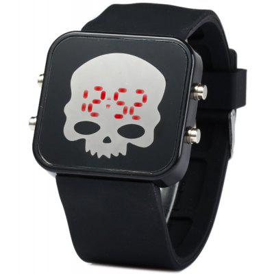 LED Sports Skull Face Watch Rode digitale datum rubberen horlogeband