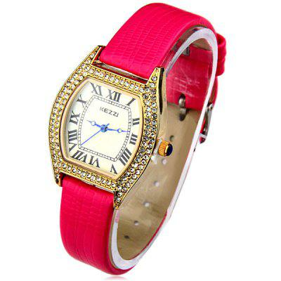 Kezzi Analog Quartz Watch Luxury Diamond with Leather Strap Rectangle Dial for Women Ladies