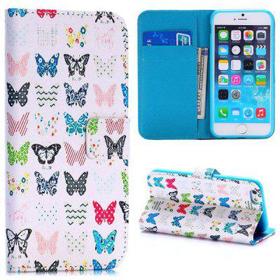 Butterfly Style PU Leather TPU Material Full Body Case with Stand Credit Card Holder for iPhone 6  -  4.7 inches