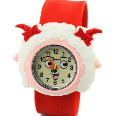 Children Quartz Pat Watch Rubber Strap with Pleasant Sheep Pretty Sheep Pattern