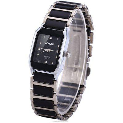 Longbo Classic Ceramic Rectangle Quartz Ladylike Watch Elastic Alloy Analog Watch
