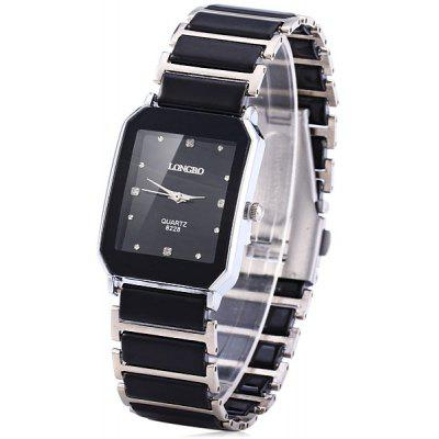 Longbo Classic Ceramic Rectangle Quartz Men Watch Elastic Alloy Analog Watch