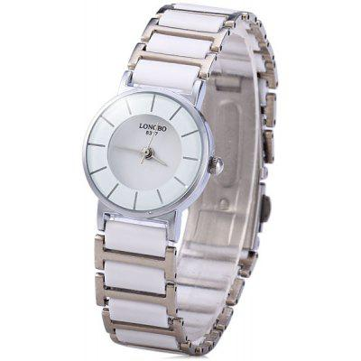 Longbo Classic Ceramic Round Quartz Ladylike Watch Elastic Alloy Analog Watch