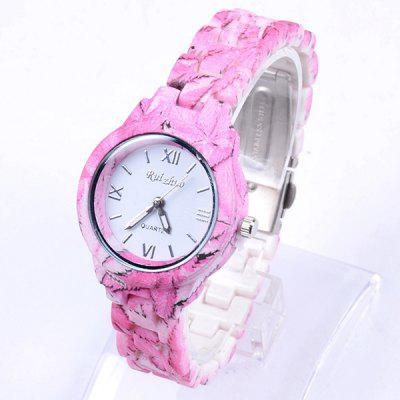 Ruizhuo Bright Color Ladies Quartz Watch Round Dial Flower Ceramic Strap