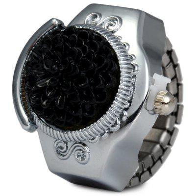 Nuadr Round Dial Finger Ring Quartz Watch Flower Flip Elastic Alloy Watch