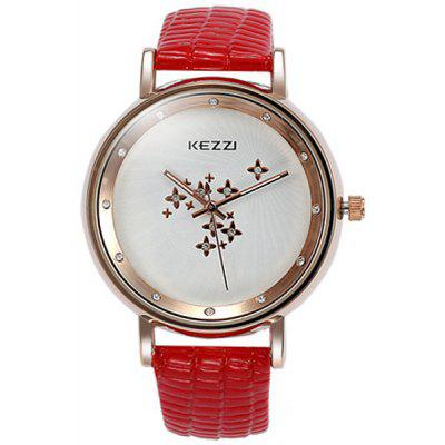 Kezzi Elegant Quartz Watch Round Dial Leather Strap for Women